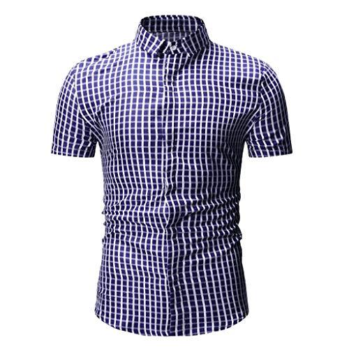 5b8657af3a7fb ZEELIY Herren Sommer Neue einfache Mode Kariertes kurzärmeliges Hemd  Freizeit Bluse Top