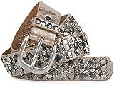 styleBREAKER edler Nietengürtel im Vintage Design mit echtem Leder, Nieten und Strass, kürzbar, Damen 03010052, Farbe:Antik-Beige;Größe:85cm