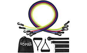 HOMIEE Exercise Resistance Bands Set, Fitness Resistance Bands Set with 5 Elastic Stretch Tubes Cord/Handles/Door Anchor/Ankle Straps/Equipment Belt/Carry Bag for Weight Exercise Workout Training Recovery
