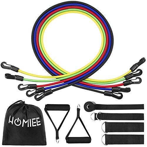 Homiee fasce di resistenza, set 12 in 1, fasce di resistenza set 5 fasce elastiche per fitness/palestra/yoga, in lattice anti strappo, con maniglia/gancio per la porta/cavigliere, fino a 150 lbs