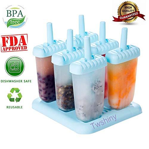 Twshiny 6 PC-Platz Design Ice Cream Pop Formen Maker Popsicle Formen Gefrorenes Eis Joghurt Jelly Pop Mold Popsicle Maker Lolly-Form-Behälter Pan-Set für Kinder / Kinder-Hot (Blue)