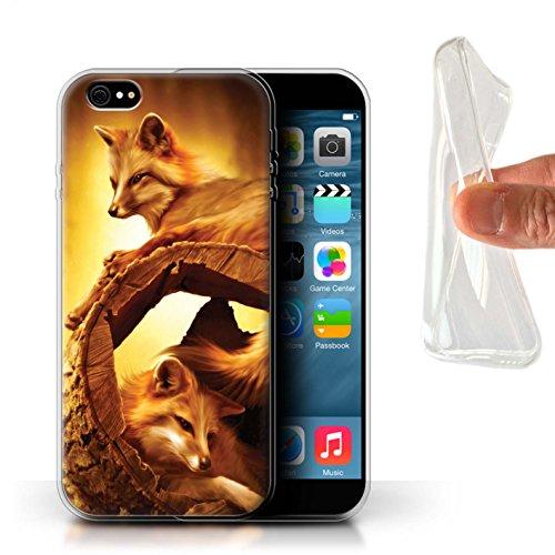 Officiel Elena Dudina Coque / Etui Gel TPU pour Apple iPhone 6+/Plus 5.5 / Loups Blancs Design / Les Animaux Collection Jacinthe