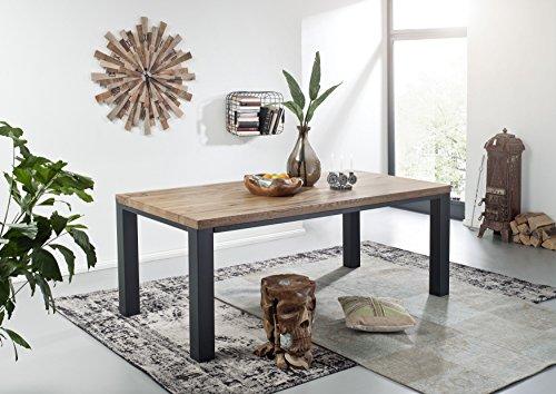 Table à manger 178x90cm - Métal et Bois massif de chêne sauvage huilé (Tabacco brown) - VILLANDERS #318