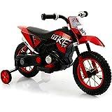 BAKAJI Moto Motocicletta Elettrica per Bambini Cross Rosso Ruota in Gomma Minimoto 6V Giochi Motocross Due Ruote Qike Rossa Motorcycle con Rotelle