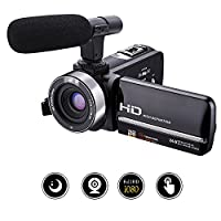 Camcorder Video Camera Full HD 1080p 30fps 24.0MP Camcorders with External Microphone Night Vision Camera Webcam 3�?� Touchscreen Digital Camcorder