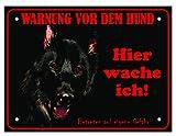 LUGUNO Hundeschild Schäferhund Hier Wache Ich 20x15 cm Schwarz Türschild Hund Aluminium Spruch Warnschild Warnung Achtung Mit Eckbohrungen