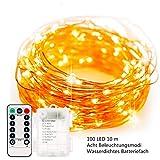Batterie Lichterkette Außen 100 LEDs 10M Wasserdicht String Fairy Light 8 Modi mit Fernbedienung DIY Dekoration Kupferdraht für Weihnachten Garten Dekolampe/Romantische Beleuchtung/Stimmung Lichter