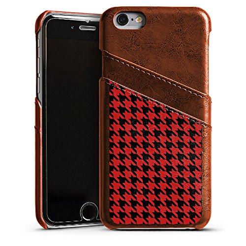 Apple iPhone 5 Housse étui coque protection Motif Motif Rouge noir Étui en cuir marron