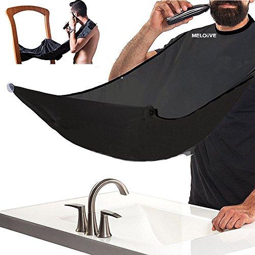 Meloive mantella per tagliare i capelli, grembiule per rasatura barba, mantella impermeabile raccogli capelli per l'uomo con 2 ventose.