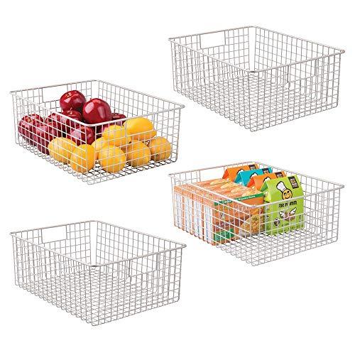 mDesign 4er-Set Allzweckkorb - der flexible Aufbewahrungskorb für die Küche, Vorratskammer etc. - großer und universeller Drahtkorb mit Griffen - mattsilberfarben