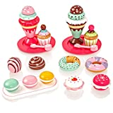 Milly & Ted Wooden Dessert Set mit Kuchen und Eiscreme - Childrens Wood Playfood Toy - Kinder Spielen Spiel Essen