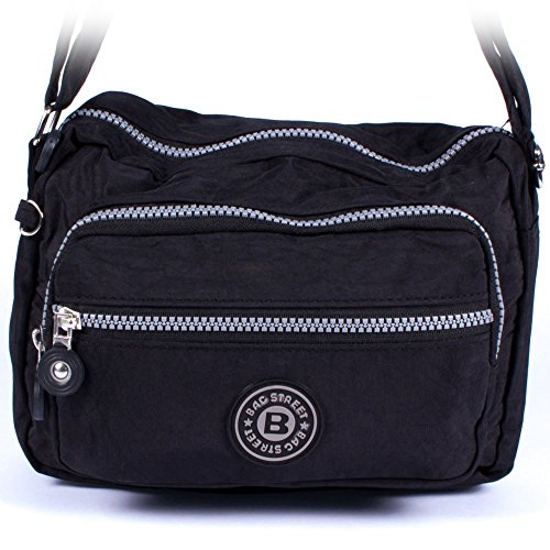 Sportliche Damentasche Modische UMHÄNGETASCHE Handtasche Sity-Tasche Mittlere Crinkle Nylon Tasche Schwarz Kleine Black (Nylon Handtasche Crinkle)