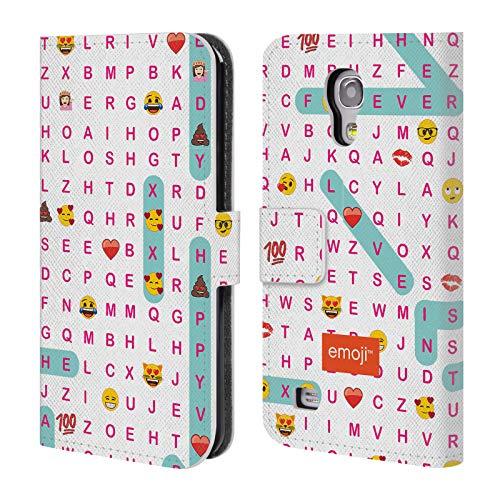 Head Case Designs Offizielle Emoji® Wort-Jagd Liebe Brieftasche Handyhülle aus Leder für Samsung Galaxy S4 Mini I9190