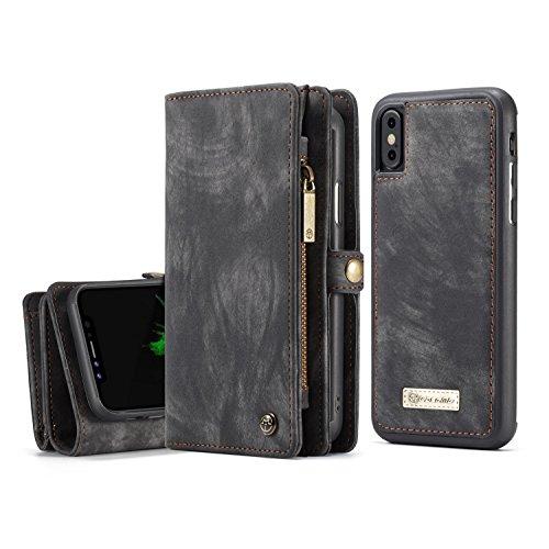 KONKY iPhone X Leder Hülle Wallet, Folio Magnetisch Leder Geldbörse mit Abnehmbarem Bezug, Multifunktionale Tasche [Card Slots und Zipper] für Apple iPhone X 5.8 Zoll, Schwarz (Leder Zipper Geldbörse Wallet)