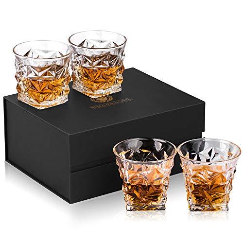 Kollea Whisky Gläser, Whiskey Gläser Set mit 4 Gläsern , Luxus Geschenkbox Gute Whisky Gläser Geschenkset für Whisky-Liebhaber zum Geburtstag ,Weihnachten