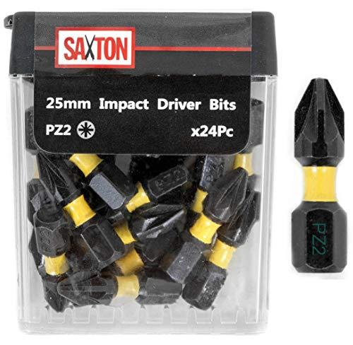 Saxton 24 x PZ2-25 mm Impact Duty Schraubendreher Bit-Sets Tic Tac Box Dewalt Milwaukee Bosch