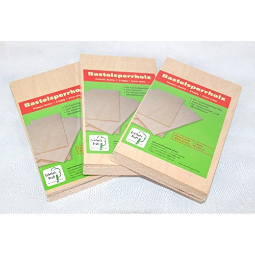 Bastelsperrholz, Sperrholz Buche, Buchensperrholz zum Laubsägen und Basteln, 28x16cm, 7 Stück/Pack