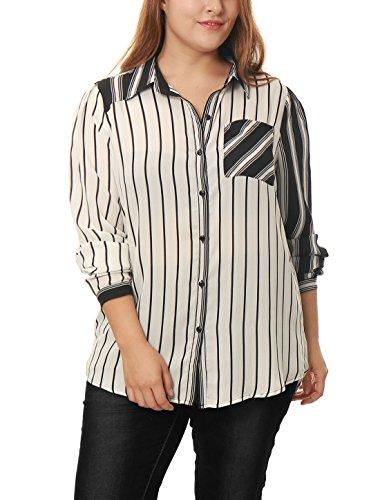 Allegra K Damen Plus Größe Gemischte Streife Reiner Chiffon Locker Hemd - Synthetisch, Weiß, 100% polyester, Damen, 2X (Semi Chiffon Schiere Bluse)