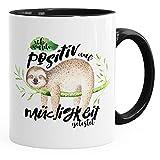 MoonWorks Kaffee-Tasse Tasse Faultier Ich Wurde Positiv auf Müdigkeit Getestet Sloth Innenfarbe Schwarz Unisize