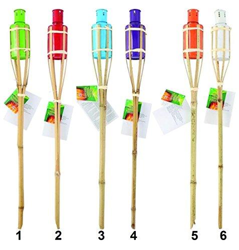 Lot de 6 Torche de jardin Bambou 60 cm - Mod 6 Blanc - Decoration Lampe Huile Insecte - 776