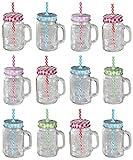 12er Set Trinkglas klar Karo mit Deckel und Strohhalm + Mineralstoff Fibel OO