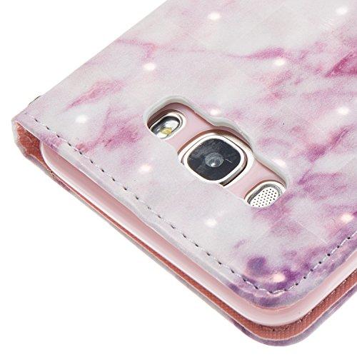 Samsung Galaxy J7 (2016) (5.5 pouce) Coque , Marbre Étui Protection Wallet PU en Cuir Housse la Haute Qualité Pochette Anti-rayures Couverture Bumper Rabat Magnétique Antichoc Cuir Véritable Case Anfi Rose