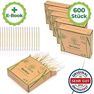 EINFÜHRUNGSANGEBOT TRUE NATURE® [600 Stück] Zero Waste Bambus Holz Wattestäbchen ohne Plastik – Inkl. E-Book – 100% biologisch abbaubare Alternative