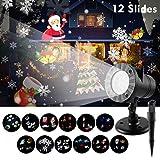 Wilktop LED Projektionslampe, LED Projektor mit 12 Wechselbaren Musters Wasserdicht IP65 Weihnachtsbeleuchtung Außen und Innen als Garten Projektionslampe für Weihnachten,Festen,Hochzeit Halloween.
