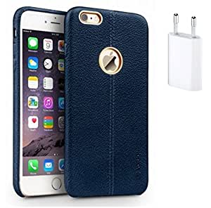 Mobimax Vorson Lexza Series Double Stitch Leather Shell with Metallic Logo Display Back Cover For Apple iPhone 6 -Blue With Flat Wall Charger