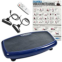 skandika Vibration Plate Home 600, 1093, professional vibration plate, incl. infrared remote control, whisper-quiet engine with 20 speed level large training surface with anti-slip coating, blue