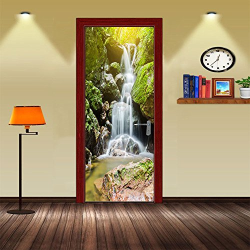 GTNINE Serie 3D Travel Scenery Tür Sticker Wandbild Aufkleber Abnehmbarer Wasserdicht Vinyl Aufkleber für Wohnzimmer Schlafzimmer Bad Home Decor-DIY, 77cm 199,9cm 30.3'' * 78.7'' Waterfall