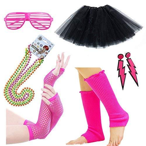 (iLoveCos 80er Party Kleid Zubehör Neon Erwachsener Tutu,Beinwärmer,Fischnetz Handschuhe,Blitz Ohrringe,Fluoreszierende Perlen Halsketten,Sonnenbrille 80s Fancy Dress Mädchen Fraue Night Out Party(A3))