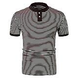Herren Poloshirt,Sommer Männer Kurzarm Gestreiftes Polo Slim Button Bluse T-Shirt Top