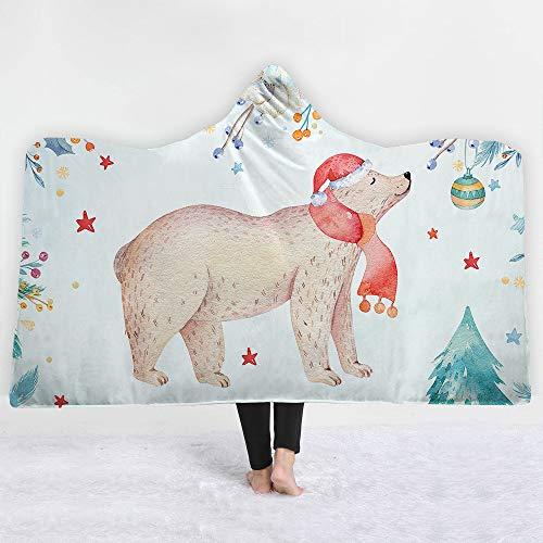 Iblan coperte per divano e letto, antirughe resistenti alle intemperie,coperta con cappuccio e coperta perbambini dellaserie natalizia, 130 * 150cm