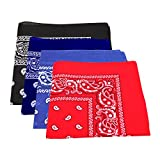 Roelli Lot de 4 bandanas à motif cachemire / Foulard 100% coton Bleu marine/Bleu roi/Noir/Rouge)