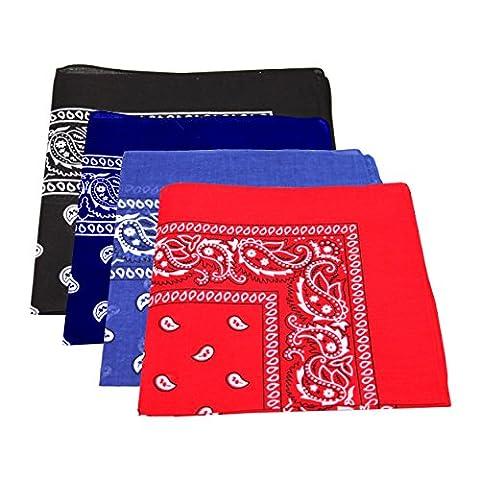 4 x Men's/Women's Paisley Pattern Bandana Head / Neck Scarf 100% Cotton (Navy Blue, Royal Blue, Black, Red)