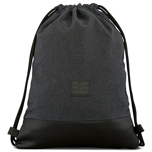 "Turnbeutel Hipster Anthrazit / Schwarz - JOHNNY URBAN ""Luke"" Canvas Gymsack Gym Bag Beutel Sportbeutel Rucksack für Damen & He..."