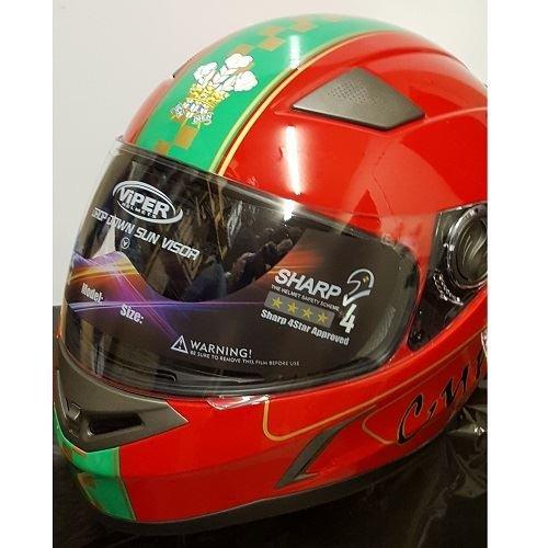 Viper rs-v9Galles bandiera Full Face casco Red Welsh motocicletta coperchio nuovo