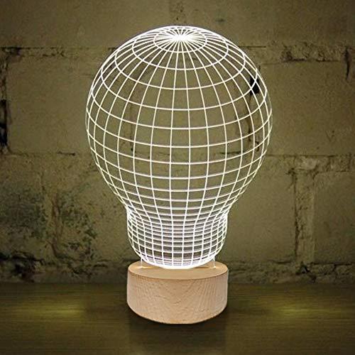 Brunoko Lámpara Bulbo 3D de mesa - Luz LED sobremesa para Decoración- Lampara Base de Madera Conexión USB en estilo Nordic perfecto para salon, dormitorio y escritorio - regalos originales de Fiesta