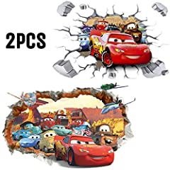 Idea Regalo - Kibi 2PCS 3D Adesivo da Parete Cars Adesivi Muro Cars Disney Camera dei Bambini Stickers Murali Cars Rimovibili Adesivi Muro Cars 3 Adesivi Murali Saetta McQueen