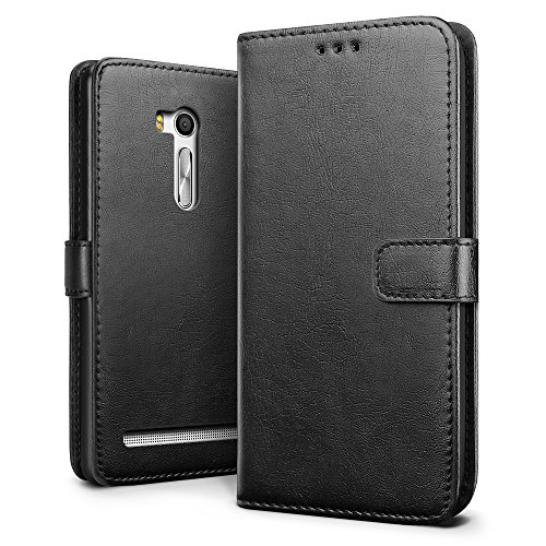 SLEO Asus Zenfone Go ZB551KL 5.5 Case , SLEO Retro Vintage PU Leather Wallet Flip Case Cover for Asus Zenfone Go ZB551KL 5.5 (Verizon, AT&T Sprint, T-mobile, Unlocked) - Black