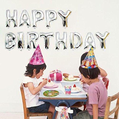 masrin selbst aufblasende Banner Happy Birthday Luftballon Wimpelkette silber 40,6cm Buchstaben Folie - X Ballon Brief