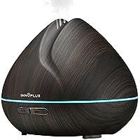 Aceite esencial difusor, innosuper madera negro 400ml ultrasónico niebla fresco humidificador con LED para la casa, dormitorio de cama, habitación de los niños, oficina, Spa, Yoga 7colores