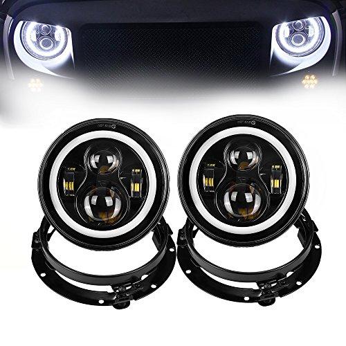 7'Fari tondi a LED da 45W Fari Daymaker Hi/Lo con White Angel Eyes Halo anello DRL + Anelli per staffa da 7 pollici accessori di montaggio per auto (4 pezzi)