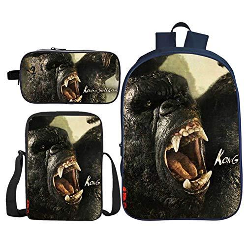 CVDEKH Zaini Casualborsa da Scuola per Bambini Gorilla 3D King Kong Set di Librerie Scolastiche Zaini per Studenti Set di 3 Pezzi Zaini Scolastici con Pranzo al Sacco Termico E Astuccio,d