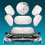Universal-Auto-Sonnenschutz (6-teiliges Set) mit Silber-Beschichtung | als Sonnenschutz für Fenster, Windschutzscheibe | reflektiert 99% der Sonnenstrahlen und 97% der schädlichen UV-Strahlen | hält das Auto um bis zu 50% kühler | schützt Kinder vor der Sonne | Einfache Anbringung, Kfz-Sonnen-Schutzabdeckung