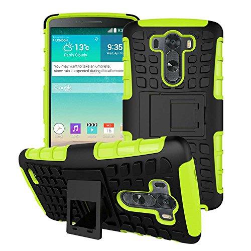 LG G3 Cover AOFad(TM) Kickstand Video heavy duty protezione Verde Nero Plastica TPU ibrido Antiskid 2-in-1 Serie Per Donna Uomo Accessori Case 5.5