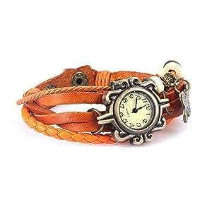 Koko Orange Leather Bracelet Watch ForWomen with Butterfly charm -123456