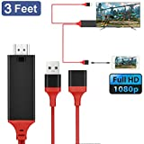 USB C Adapter, Diadia 3 in1 USB Type C Lightning 1080P Converter Adapter Cable for Lighting 8 Pin IPad / IPhone / Samsung Galaxy S9/Type-C / Micro USB Android Phone to Mirror to HDMI TV (Red)