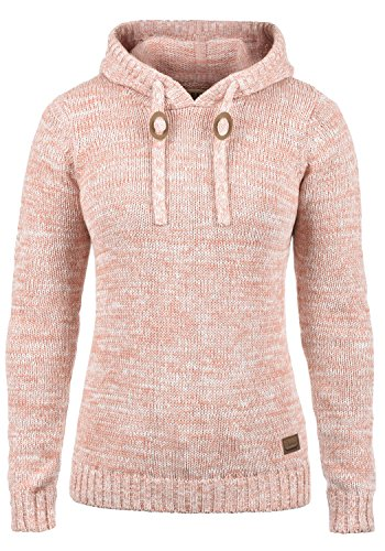 DESIRES Philla Damen Winter Strickpullover Troyer Grobstrick Pullover mit Kapuze, Größe:S, Farbe:Powder Rose (5178) -